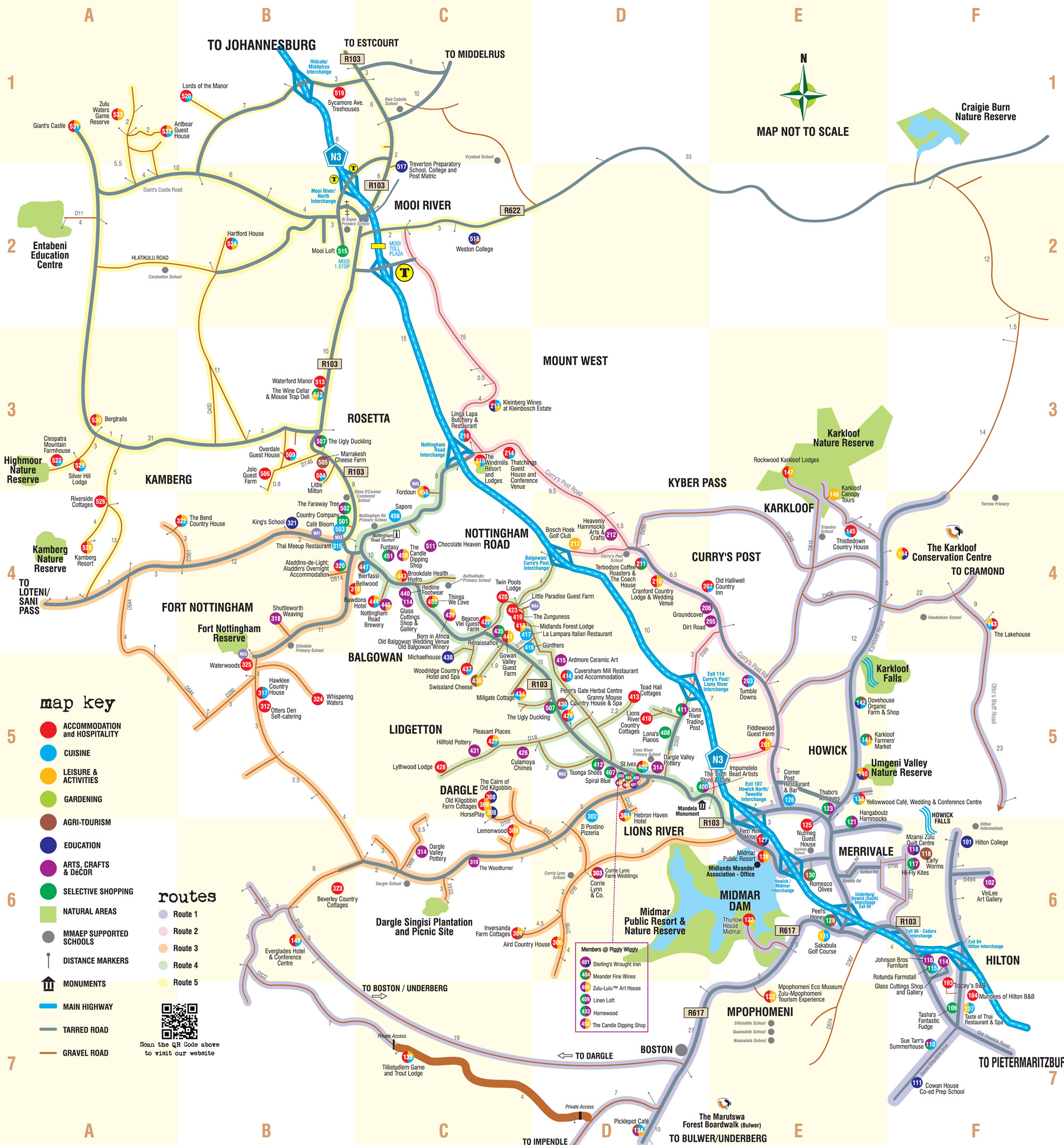 Drakensberg Accommodation Hotels: Drakensberg Mountains Midlands Meander Map